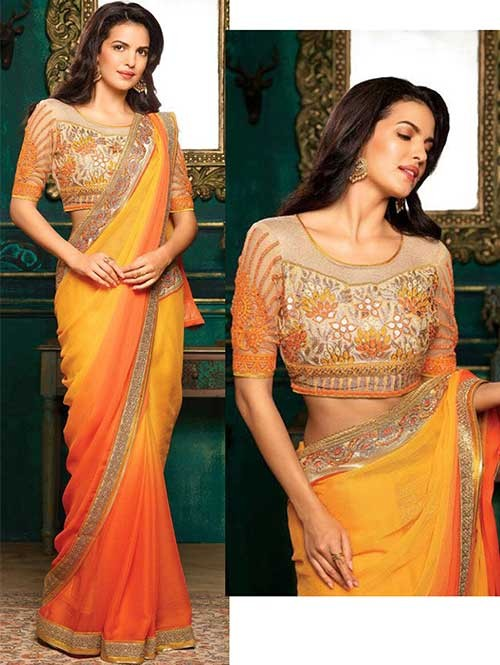 Yellow And Orange Colored Beautiful Embroidered Georgette Saree