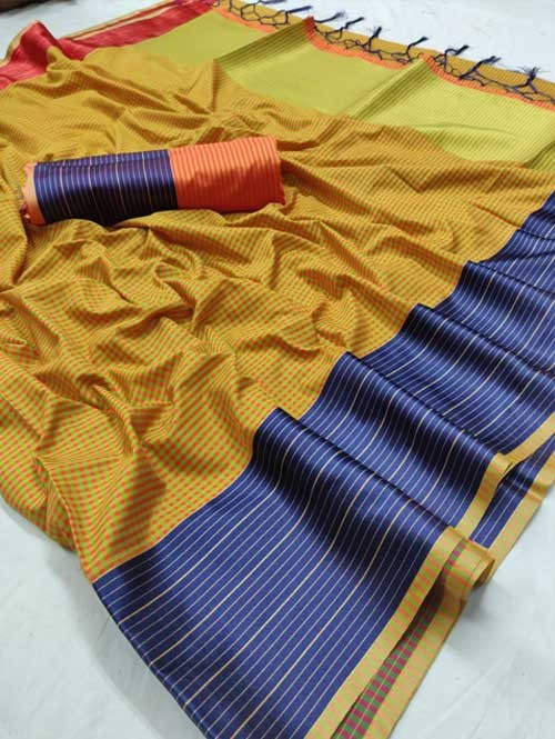 Yellow Color Beautiful Chex Printed Banarasi Silk Saree
