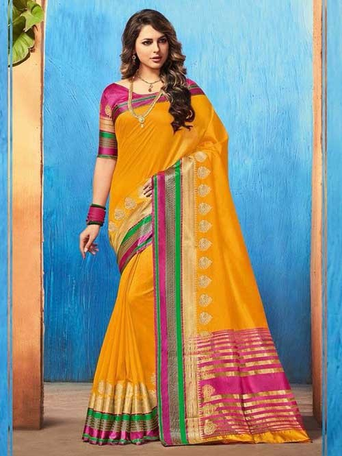 Yellow Color Beautiful Cotton Silk Saree