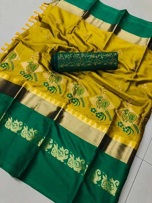 Yellow Color Beautiful Embroidered Cotton Silk Saree Have beautiful Weaving Border
