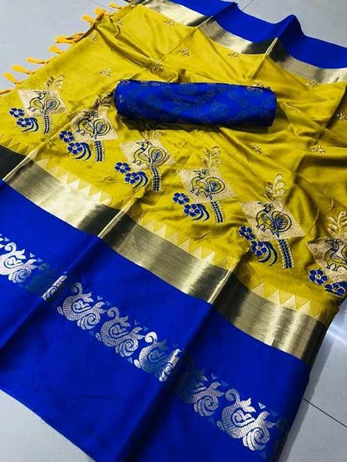 Yellow Color Beautiful Embroidered Cotton Silk Saree Have beautiful Weaving Border - Kesari