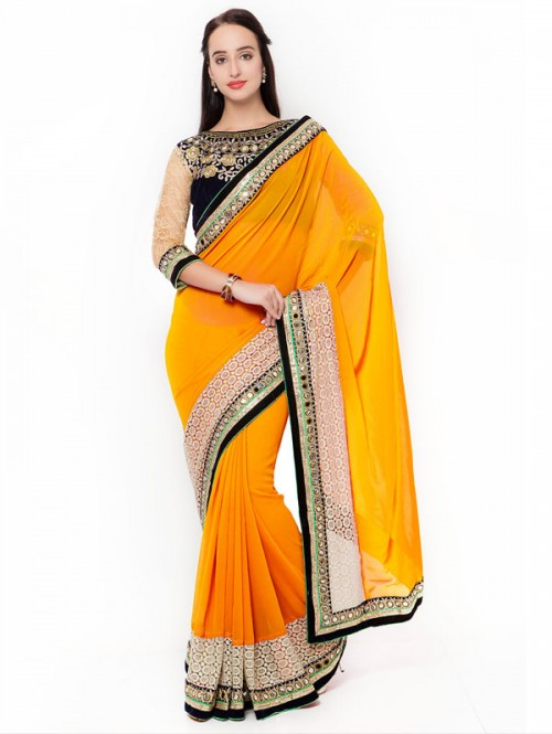 Yellow Color Beautiful Georgette Saree with velvet embroidered Blouse