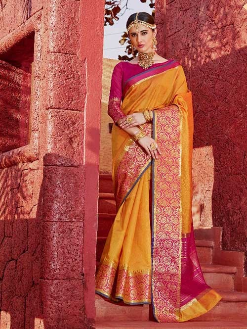 Yellow Color Beautiful Handloom Waving Silk Saree