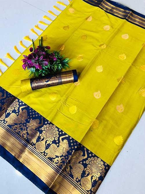 Yellow Color Beautiful Weaving Cotton Silk Saree - Anmol