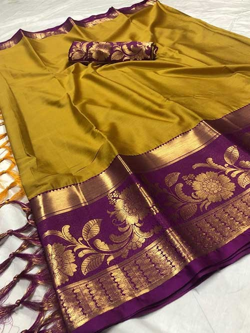 Yellow Color Beautiful Weaving Cotton Silk Saree - Flavor