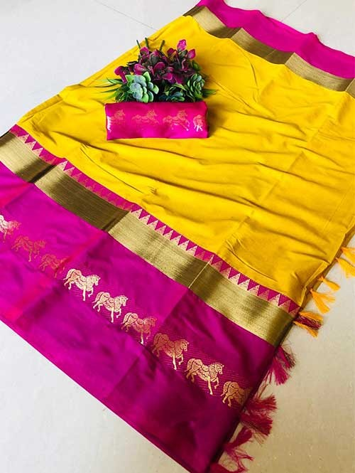 Yellow Color Beautiful Weaving Cotton Silk Saree - Horse Ride
