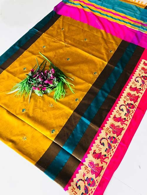 Yellow Color Beautiful Weaving Cotton Silk Saree - Jaisalmer