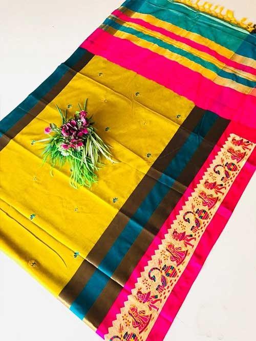 Yellow Color Beautiful Weaving Cotton Silk Saree - Jaisalmer