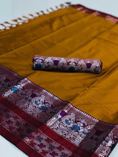 Yellow Color Beautiful Weaving Cotton Silk Saree - Kalakruti