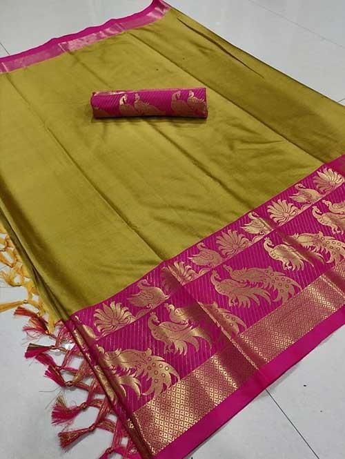 Yellow Color Beautiful Weaving Cotton Silk Saree - Mahishmati