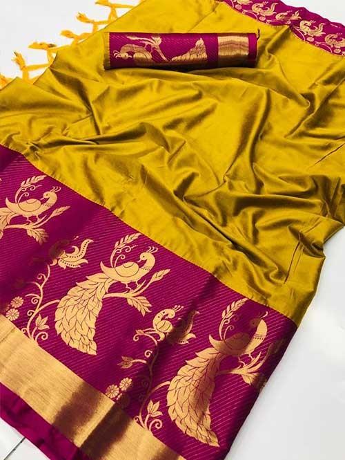 Yellow Color Beautiful Weaving Cotton Silk Saree