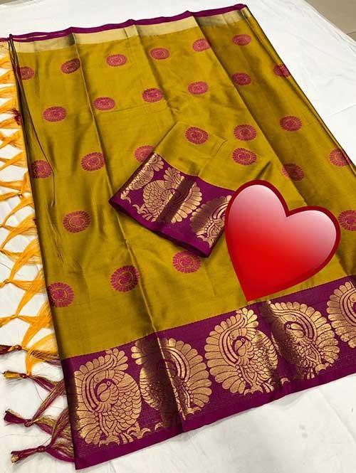Yellow Color Beautiful Weaving Cotton Silk Saree - Kyara