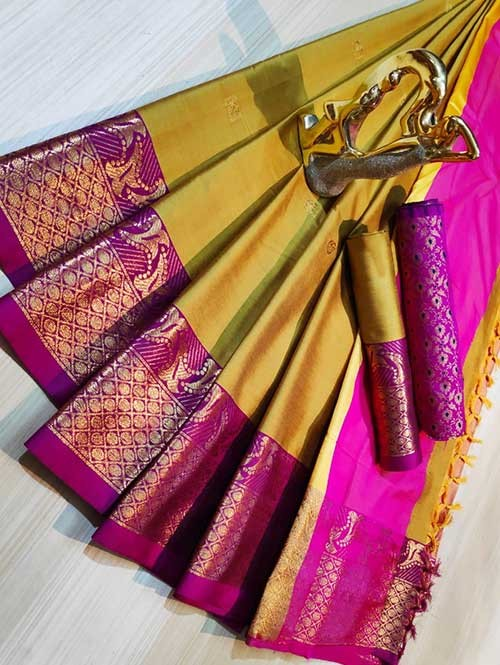 Yellow Color Beautiful Weaving Cotton Silk Saree - Mahiya & Ashra