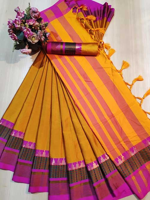 Yellow Color Beautiful Weaving Cotton Silk Saree - Meena