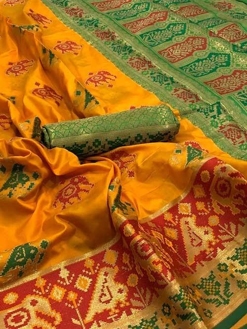 Yellow Color Beautiful Weaving Cotton Silk Saree - Patola