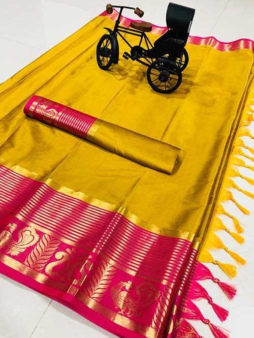 Yellow Color Beautiful Weaving Cotton Silk Saree - Rupa