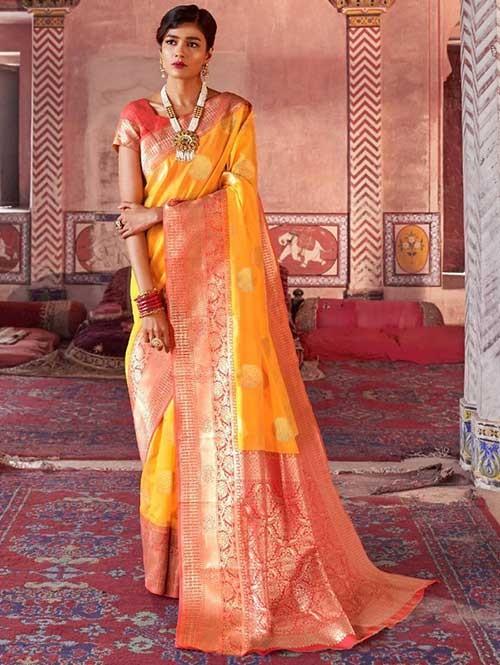 Yellow Color Beautiful Weaving Silk Saree - Karveena