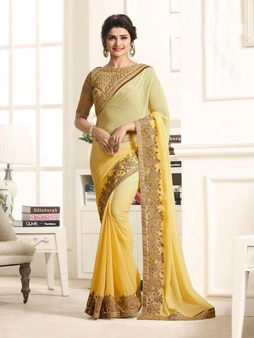 Yellow Color Georgeous Chiffon saree with Blouse