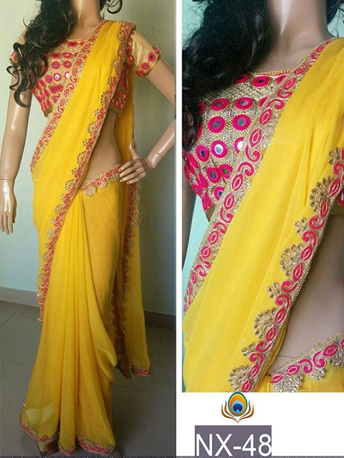Yellow Color Georgette Saree with eye-catching Mirror Work On border