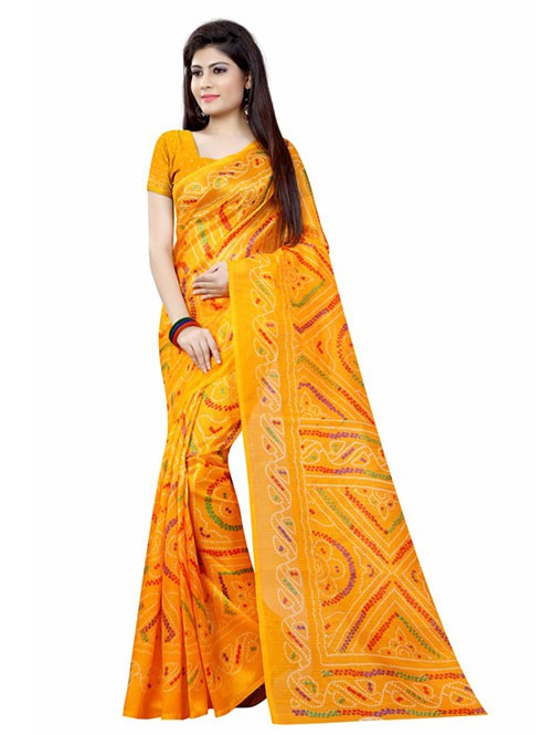 Yellow Color Beautiful Bandhani Bhagalpuri saree with Blouse