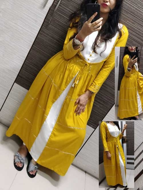 Yellow Colored A-Line Rayon Selfie Kurti With Gota Patti Lace