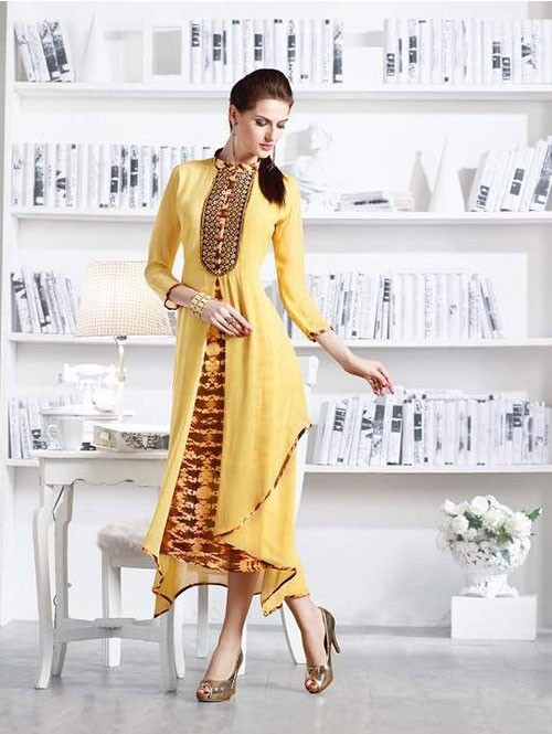 Yellow Colored Apricot Fancy Georgette Khatali Embroidered Work Kurti