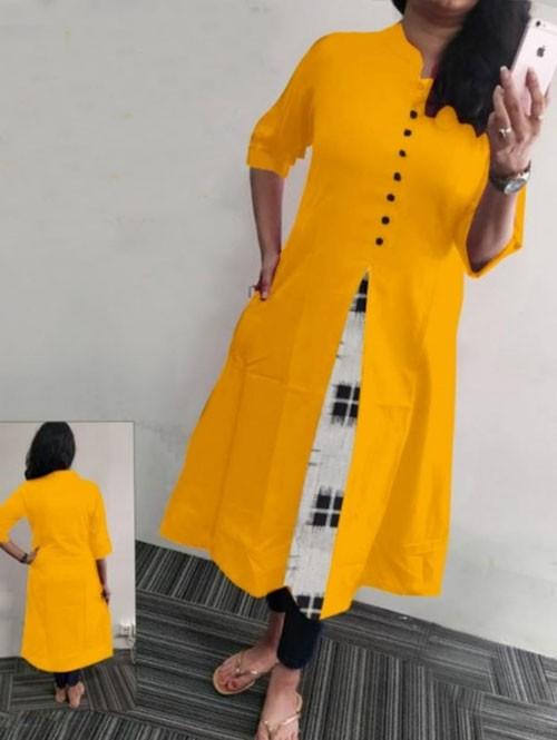 Yellow Colored Beautiful A-line Heavy Flex Cotton Kurti