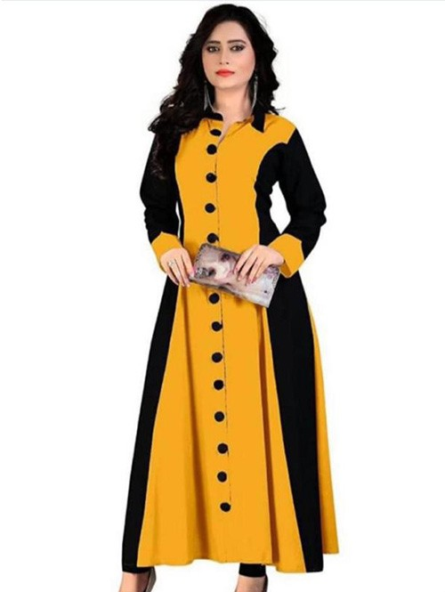 Yellow Colored Beautiful A-Line Rayon Kurti