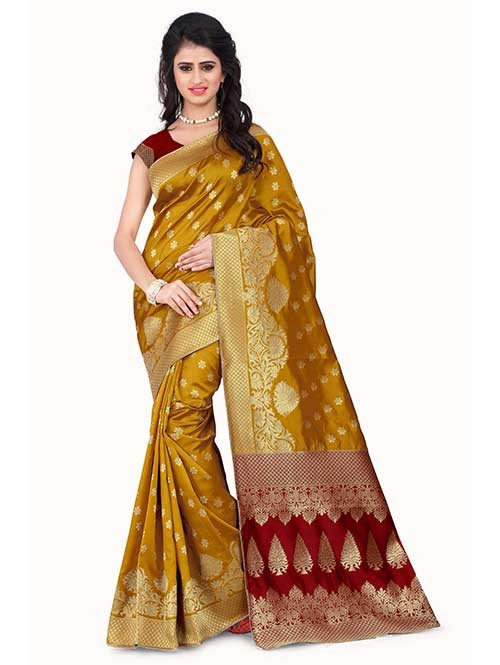 Yellow Colored Beautiful Banarasi Silk Saree