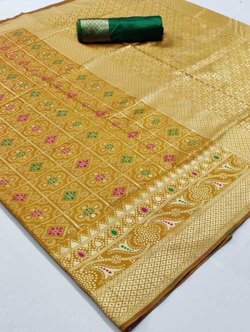 Yellow Colored Beautiful Branded Bandhej Weaving Silk Saree - Bandhej