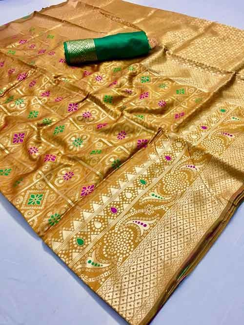 Yellow Colored Beautiful Branded Bandhej Weaving Silk Saree - Bandhej