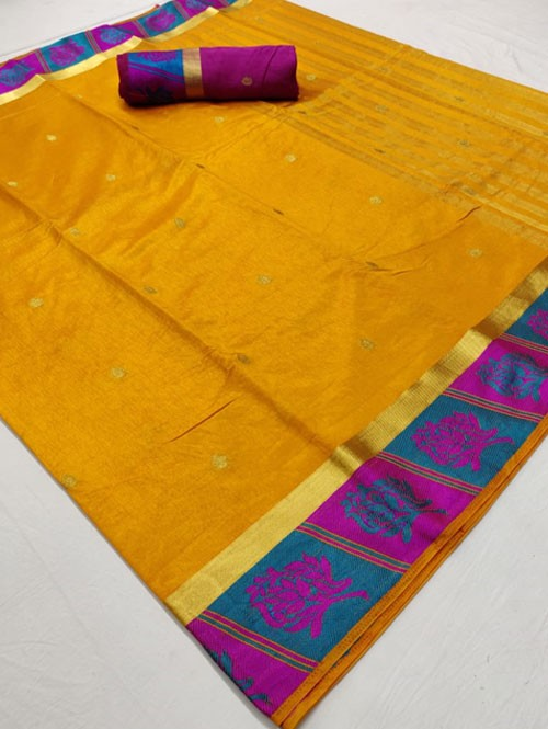 Yellow Colored Beautiful Branded Soft Weaving Silk Saree - Silk India
