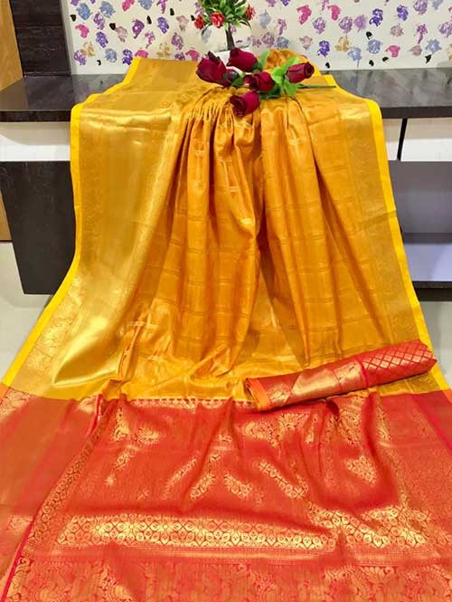 Yellow Colored Beautiful Branded Weaving Kanchipurm Silk Saree - Kanan