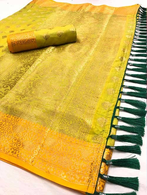 Yellow Colored Beautiful Branded Weaving Soft Nylon Silk Saree