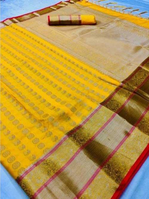 Yellow Colored Beautiful Branded Weaving Soft Silk Saree