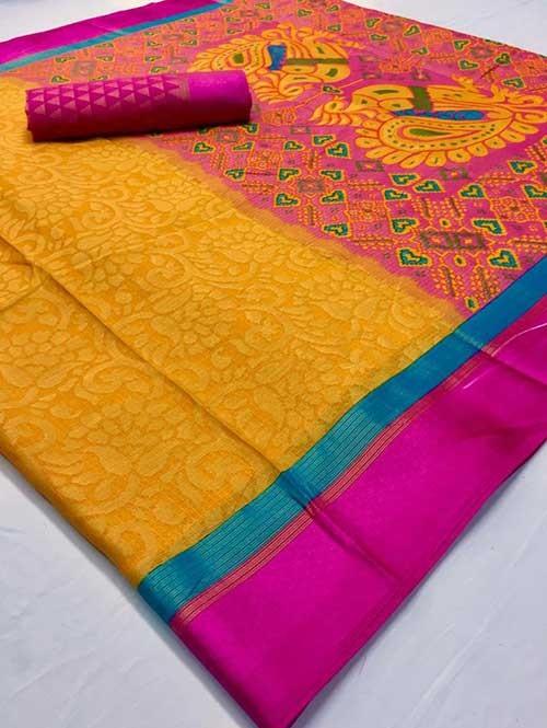 Yellow Colored Beautiful Brasso Soft Silk Fancy Saree With Kalamkari - Kudrat