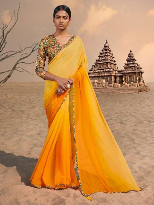 Yellow Colored Beautiful Chiffon Shaded Color Saree With Printed Saree