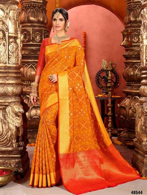 Yellow Colored Beautiful Cotton Silk Saree