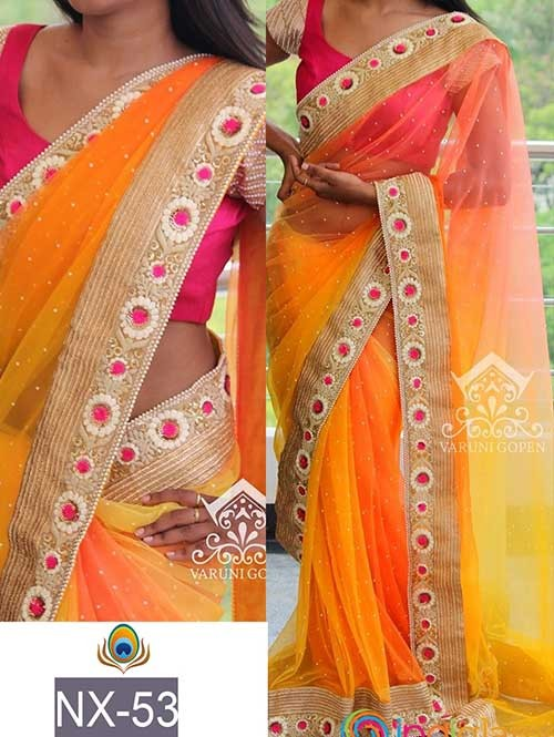 Yellow Colored Beautiful Embroidered Border Sprey Nylon Mono Net Saree.