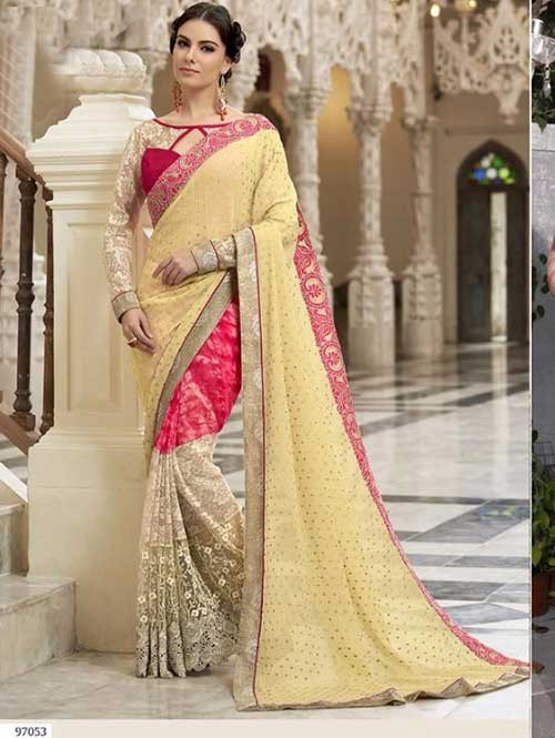 Yellow Colored Beautiful Embroidered Chiffon and Net Saree