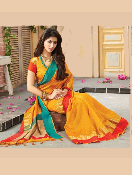 Yellow Colored Beautiful Embroidered Cotton Saree With Matching Blouse