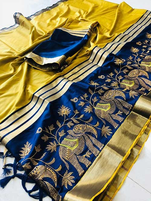 Yellow Colored Beautiful Embroidered Cotton Silk Saree