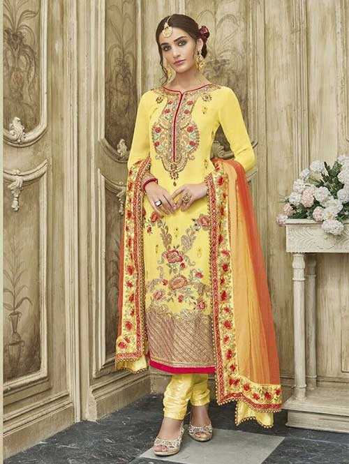 Yellow Colored Beautiful Embroidered Faux Georgette Salwar Suit With four side embroidery less with latkan Dupatta