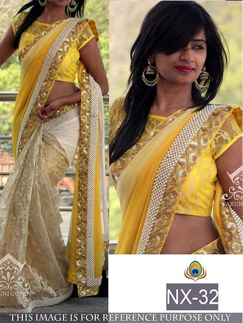 Yellow Colored Beautiful embroidered Georgette and Rasal Net Saree with Beautiful Blouse