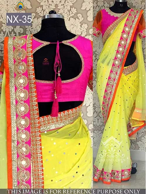 Yellow Colored Beautiful embroidered Georgette Saree with Beautiful Blouse