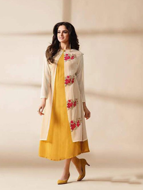 Yellow Colored Beautiful Embroidered Georgette Stylist Kurti.