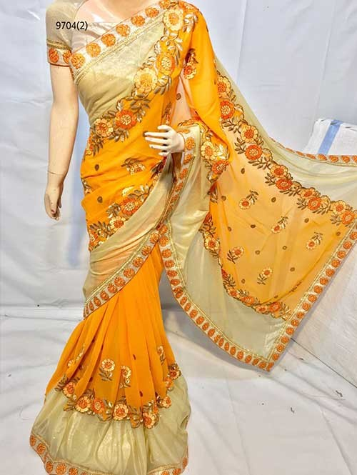 Yellow Colored Beautiful Embroidered Georgette with Lycra Saree