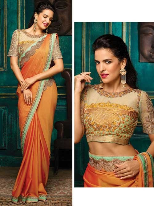 Yellow Colored Beautiful Embroidered Golden Silk Saree