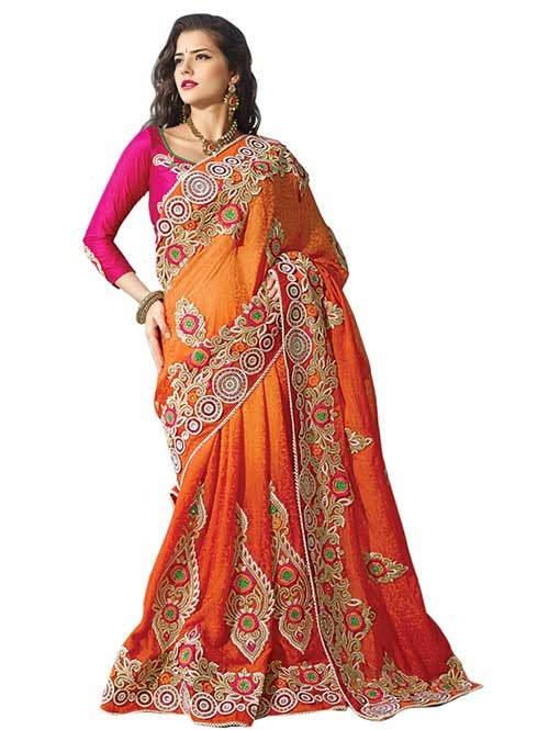 Yellow Colored Beautiful Embroidered Heavy Saree