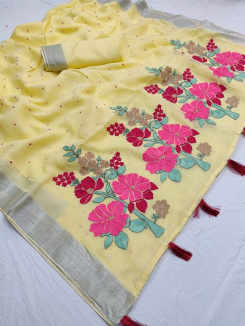 Yellow Colored Beautiful Embroidered Linen Saree